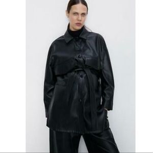 Zara Faux Leather Belted Overshirt